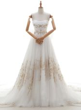 Glittering Sleeveless Tulle With Train Chapel Train Lace Up Wedding Gowns in White for with Appliques and Bowknot