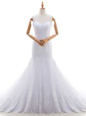 Inexpensive Mermaid Lace Sleeveless With Train Bridal Gown Brush Train and Lace