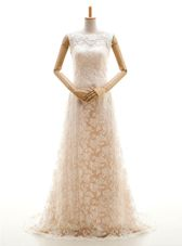 Champagne Sleeveless Lace Sweep Train Clasp Handle Wedding Dress for Wedding Party