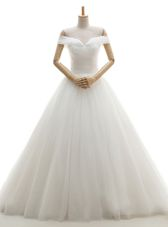 High Quality White Wedding Dress Wedding Party and For with Ruching Off The Shoulder Sleeveless Court Train Lace Up