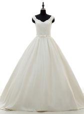Best White A-line Lace and Belt Wedding Dress Zipper Satin Sleeveless