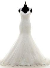 Lace With Train Column/Sheath Sleeveless White Wedding Dresses Brush Train Clasp Handle