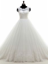 Edgy White A-line Tulle High-neck Sleeveless Lace With Train Zipper Bridal Gown Court Train