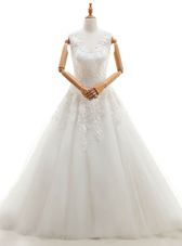 Sleeveless Brush Train Appliques Zipper Wedding Gowns