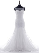 Hot Sale Mermaid Scoop White Sleeveless Tulle Brush Train Lace Up Wedding Gown for Wedding Party