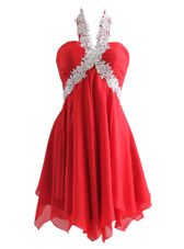 Fitting Red Chiffon Zipper Sweetheart Sleeveless Knee Length Homecoming Dress Appliques