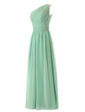 Flirting A-line Evening Dress Apple Green One Shoulder Chiffon Sleeveless Floor Length Zipper