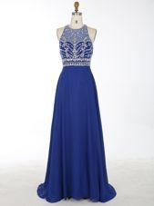 Royal Blue Criss Cross Scoop Beading Evening Dress Chiffon Sleeveless Brush Train