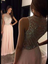 Asymmetrical Pink Juniors Evening Dress Scoop Sleeveless Side Zipper