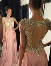 Pink Dress for Prom Bateau Cap Sleeves Brush Train Side Zipper