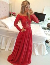 Red Off The Shoulder Zipper Appliques Prom Party Dress Long Sleeves