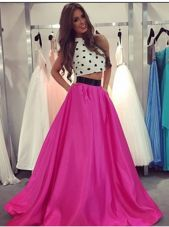 Fashion Halter Top Fuchsia Sleeveless Satin Zipper Prom Dresses for Prom and Party