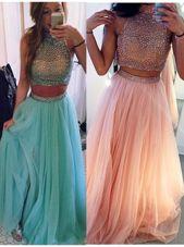 Halter Top Blue Tulle Zipper Prom Gown Sleeveless Floor Length Beading