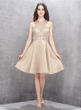 Great Sleeveless Criss Cross Knee Length Beading Prom Dresses