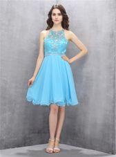 Perfect Scoop Blue Sleeveless Knee Length Beading Criss Cross Dress for Prom