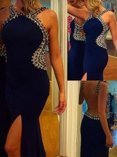 Mermaid Backless Prom Party Dress Navy Blue and In for Prom and Party with Beading Court Train