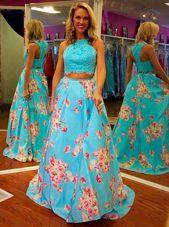 High End Halter Top Sleeveless Zipper Homecoming Dress Blue Satin