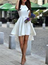 Hot Sale White Satin Zipper Scoop Sleeveless Asymmetrical Club Wear Pleated