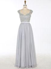 Perfect Grey V-neck Neckline Beading and Appliques Prom Dress Sleeveless Zipper