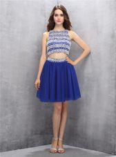 A-line Evening Dress Royal Blue Scoop Organza Sleeveless Knee Length Backless