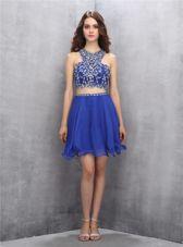 Custom Fit Royal Blue A-line Chiffon Scoop Sleeveless Beading Knee Length Criss Cross Evening Dress