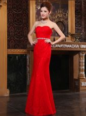 Custom Fit Mermaid Lace Floor Length Zipper Prom Gown Red and In for Prom and Party with Beading