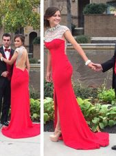 Dramatic Cap Sleeves Court Train Backless Beading Homecoming Dresses