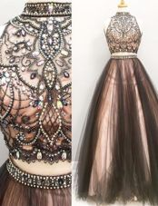 Exceptional Sleeveless Beading and Ruching Zipper Dress for Prom