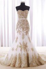 Enchanting Mermaid With Train White Evening Dress Sweetheart Sleeveless Brush Train Lace Up