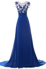 Free and Easy Scoop Sleeveless Brush Train Beading and Appliques Zipper Prom Dresses