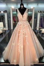 Inexpensive Peach Straps Zipper Lace Evening Dress Sleeveless