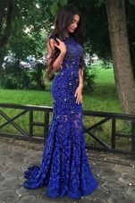 Charming Mermaid Scoop Royal Blue Backless Prom Dresses Beading and Lace Sleeveless With Brush Train