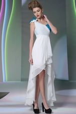 Shining White Side Zipper Homecoming Gowns Ruffled Layers and Sequins and Hand Made Flower Sleeveless High Low