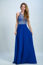 Scoop Sleeveless Floor Length Beading Criss Cross Prom Evening Gown with Royal Blue