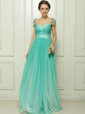 Most Popular Turquoise Cap Sleeves Beading and Ruching Zipper Dress for Prom
