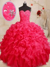 Custom Designed Beading and Ruffles Quinceanera Gowns Coral Red Lace Up Sleeveless Floor Length