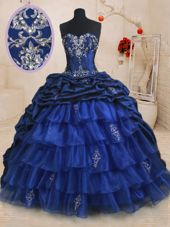 Spectacular Pick Ups Ruffled Royal Blue Sleeveless Organza and Taffeta Brush Train Lace Up Sweet 16 Quinceanera Dress for Military Ball and Sweet 16 and Quinceanera