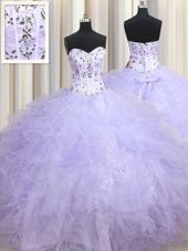 Graceful Sweetheart Sleeveless Quinceanera Gowns Floor Length Beading and Ruffles Lavender Tulle
