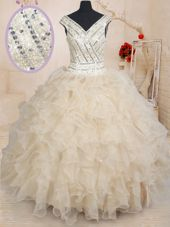 Sequins Floor Length Ball Gowns Cap Sleeves Champagne Quince Ball Gowns Zipper