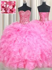 Glittering Sleeveless Floor Length Beading and Ruffles and Sequins Lace Up Sweet 16 Quinceanera Dress with Rose Pink