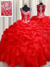 Organza Straps Sleeveless Zipper Beading and Ruffles Sweet 16 Dress in Red