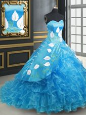 Glorious Sleeveless With Train Embroidery and Ruffled Layers Lace Up Quinceanera Dress with Baby Blue Brush Train