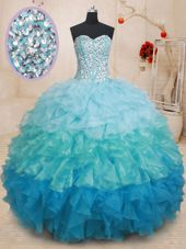 Sweetheart Sleeveless Vestidos de Quinceanera Beading and Ruffles Multi-color Organza