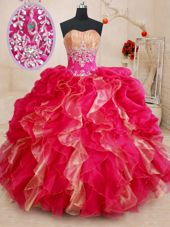Sweetheart Sleeveless Lace Up Quinceanera Gown Red Organza