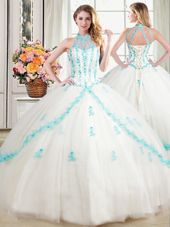 Four Piece Tulle Sleeveless Floor Length Quinceanera Gowns and Beading and Appliques and Ruffles