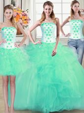 Hot Selling Three Piece Turquoise Ball Gowns Tulle Strapless Sleeveless Beading and Appliques and Ruffles Floor Length Lace Up Vestidos de Quinceanera