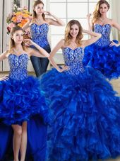 Deluxe Four Piece Royal Blue Ball Gowns Organza Sweetheart Sleeveless Beading and Ruffles Lace Up Quinceanera Gowns Brush Train