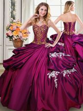 Amazing Burgundy Sweetheart Lace Up Beading and Appliques and Pick Ups Quinceanera Gowns Sleeveless
