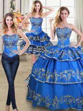 Stylish Three Piece Blue Sleeveless Beading and Embroidery and Ruffled Layers Floor Length Vestidos de Quinceanera