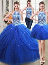 Romantic Three Piece Halter Top Royal Blue Lace Up Quince Ball Gowns Beading and Pick Ups Sleeveless Floor Length
